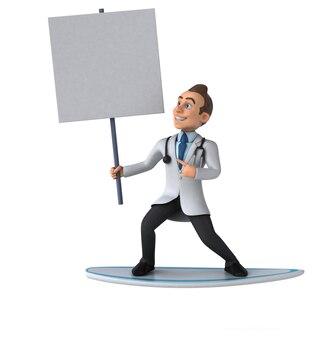 Amusant docteur en dessin animé 3d surf