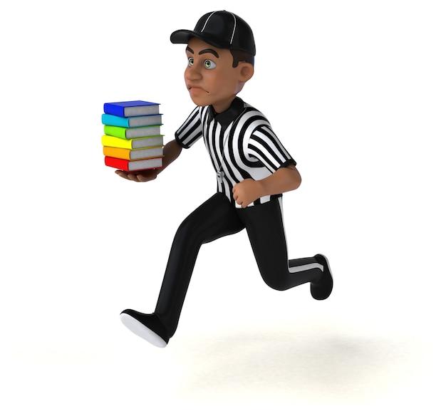 Amusant personnage 3d d'un arbitre américain