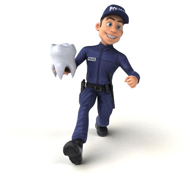 Amusant personnage 3d d'un officier de police de dessin animé