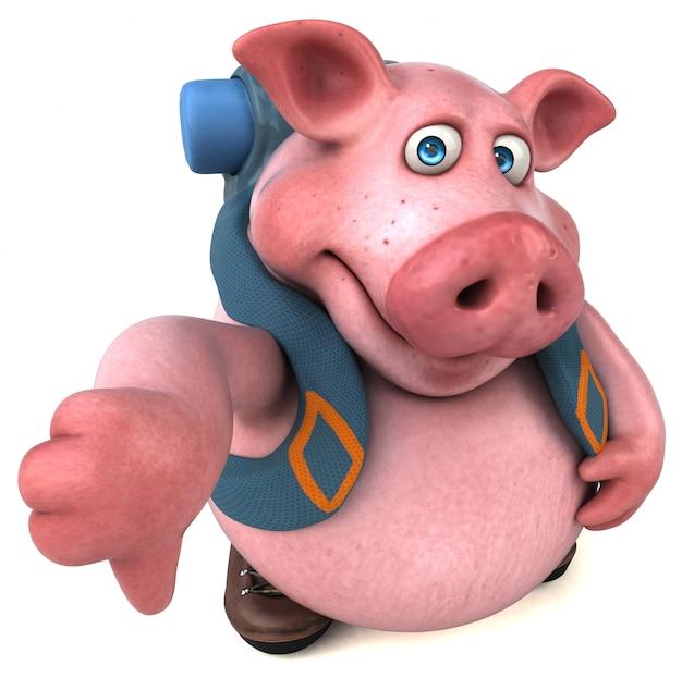 Amusant personnage de dessin animé de porc routard