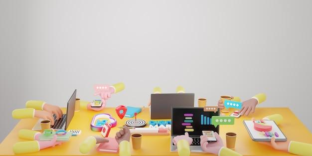 Analyse de remue-méninges de l'équipe commerciale du marché en ligne. technologie de marketing numérique, concept d'entreprise en ligne, publicité numérique via les médias sociaux. illustration 3d