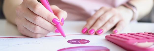 Une analyste féminine examine le rapport d'activité sous forme de graphiques