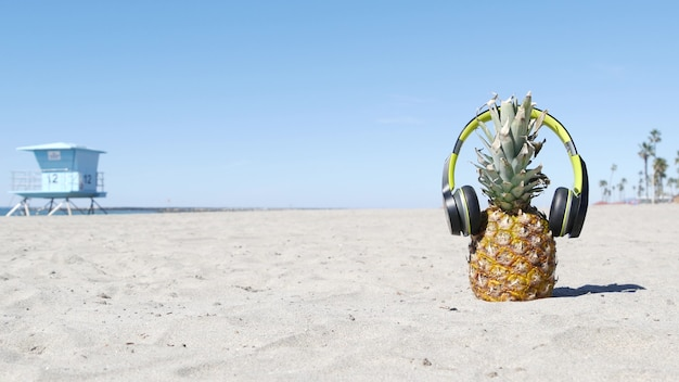 Ananas dans les écouteurs, côte de plage de sable de l'océan. fruits exotiques d'été tropical. ananas sur le rivage.