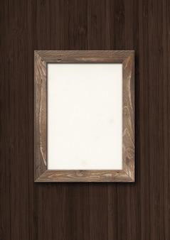 Ancien cadre photo en bois rustique suspendu