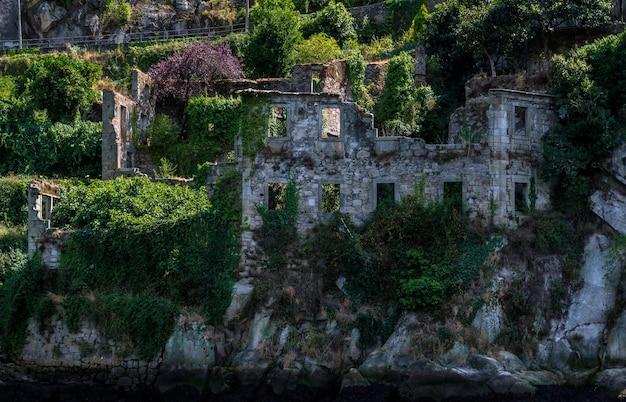 Ancien manoir en ruines au bord de l'eau envahi par la nature.