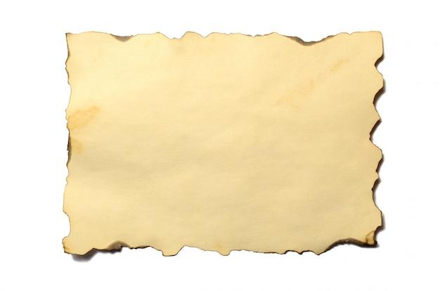 Ancien morceau vierge de manuscrit ou parchemin en papier émietté d'époque