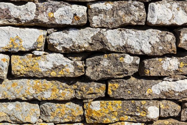 Ancien mur de pierres et couvert de lichens