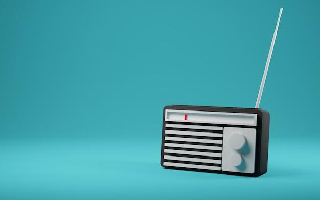 Ancien récepteur radio de style rétro vintage render