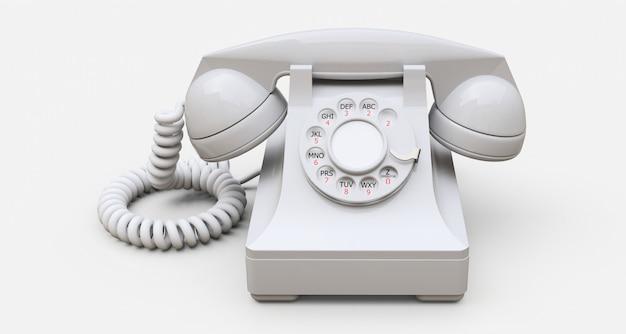 Ancien téléphone à cadran blanc