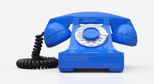 Ancien téléphone à cadran bleu sur fond blanc. illustration 3d.