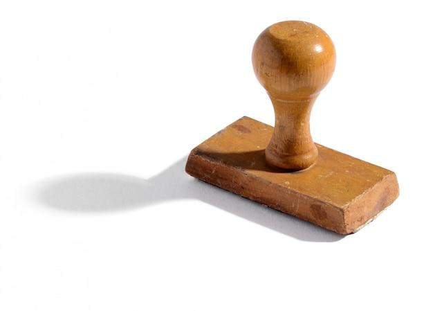 Ancien timbre à main de bureau en bois