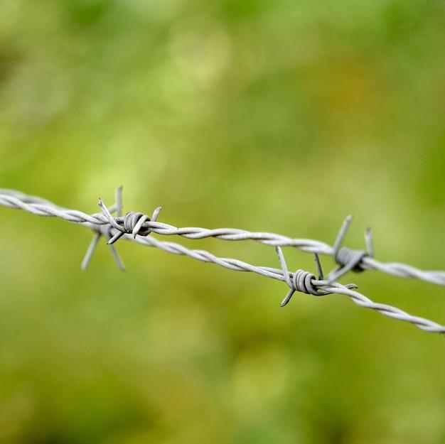 Ancienne clôture en fil de fer barbelé métallique