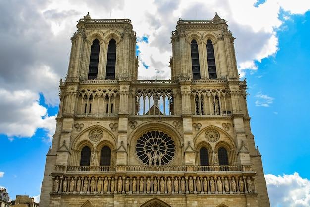 Ancienne façade de la cathédrale notre-dame de paris avant l'incendie.