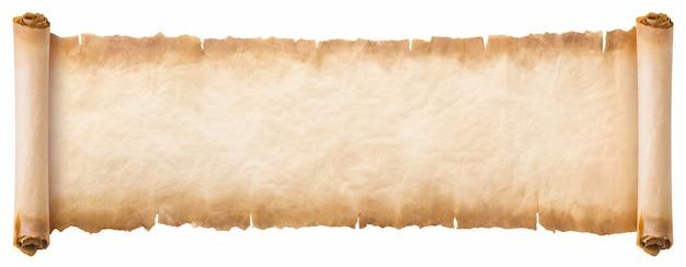 Ancienne feuille de défilement de papier parchemin vintage ou texture isolée sur fond blanc.