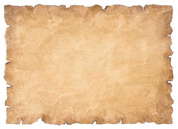 Ancienne feuille de papier parchemin vintage vieillie ou texture isolée sur fond blanc.