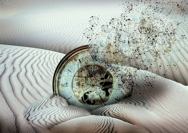 Ancienne horloge se désintégrant enfouie dans le sable du désert, fin des temps