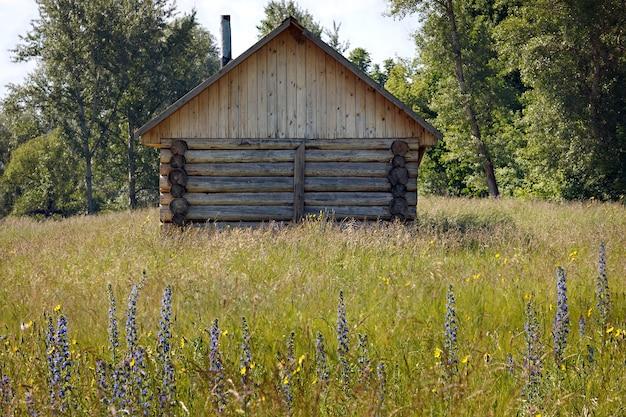 Ancienne maison en rondins en lisière de forêt