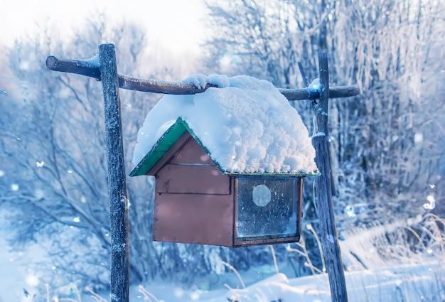 Ancienne mangeoire en bois pour oiseaux suspendus à l'extérieur.