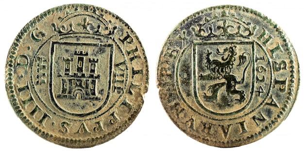 Ancienne monnaie espagnole en cuivre du roi felipe iv.