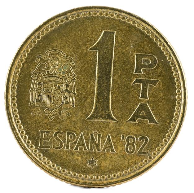 Ancienne pièce de monnaie espagnole de 1 peseta.