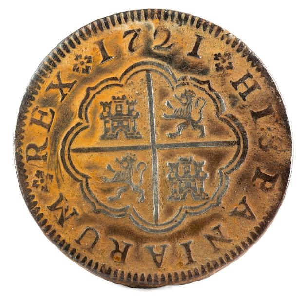 Ancienne pièce de monnaie espagnole en argent du roi felipe v. 1721. 2 reales. inverser.