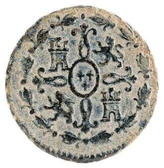 Ancienne pièce de monnaie espagnole en cuivre du roi carlos iii.