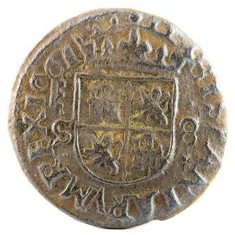 Ancienne pièce de monnaie espagnole en cuivre du roi felipe iv. inventé à ségovie. 8 maravedis.