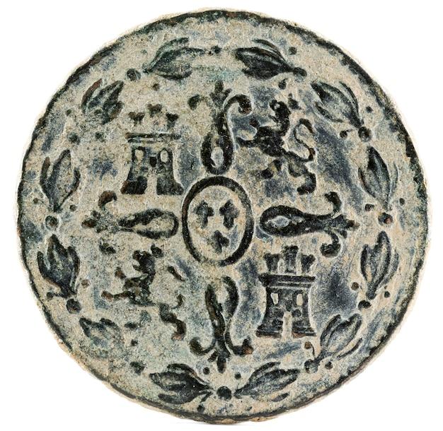 Ancienne pièce de monnaie espagnole en cuivre du roi fernando vii.