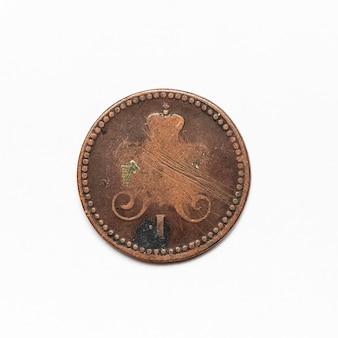 Ancienne pièce de monnaie russe de 1842. isolé sur une surface blanche.