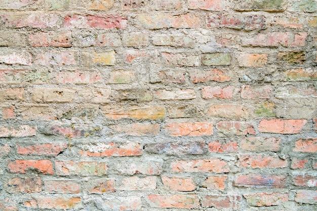 Ancienne surface de mur de brique rouge.