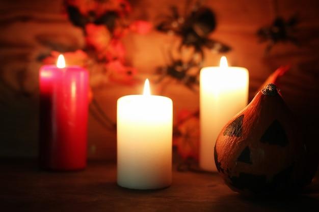Anciennes décorations de table pour halloween bougies tête de citrouille sculptées