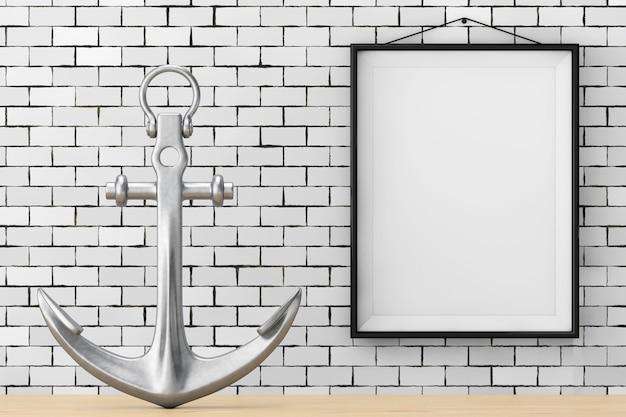 Ancre nautique devant le mur de briques avec le gros plan extrême de blank frame. rendu 3d
