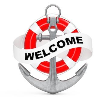 Ancre nautique avec ruban et panneau de bienvenue sur fond blanc. rendu 3d