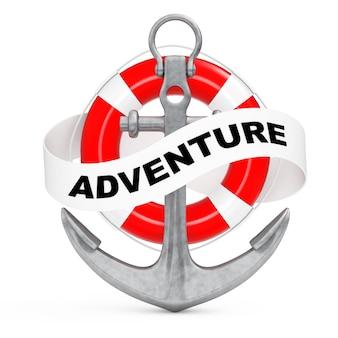 Ancre nautique avec ruban et signe d'aventure sur fond blanc. rendu 3d