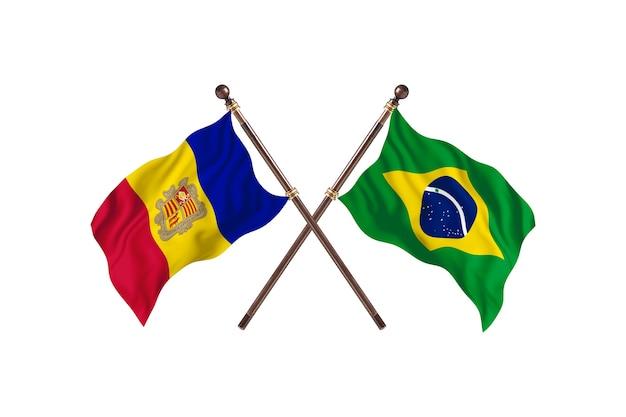 Andorre contre brésil deux pays drapeaux fond