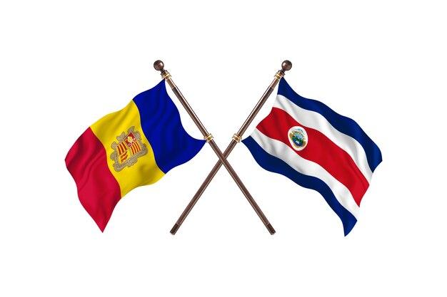 Andorre contre costa rica fond de drapeaux de deux pays