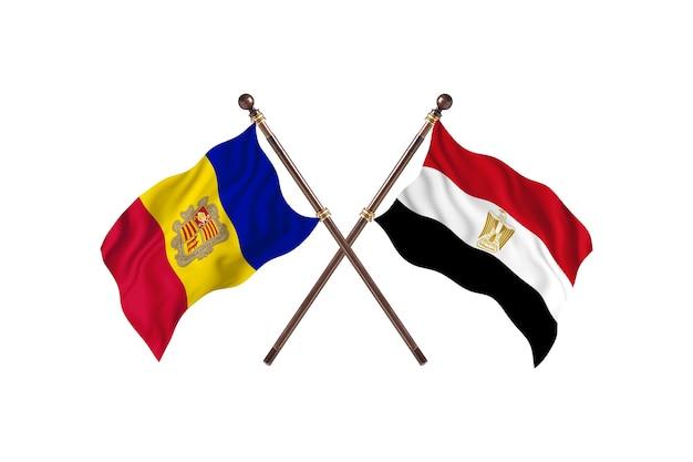 Andorre contre l'egypte deux pays drapeaux fond