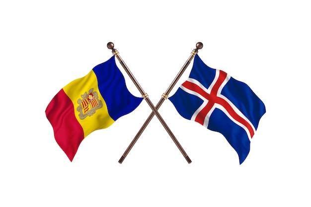 Andorre contre l'islande deux pays drapeaux fond
