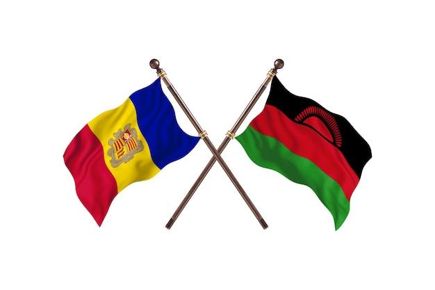Andorre contre malawi deux pays drapeaux contexte
