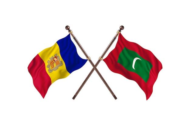 Andorre contre maldives deux pays drapeaux fond