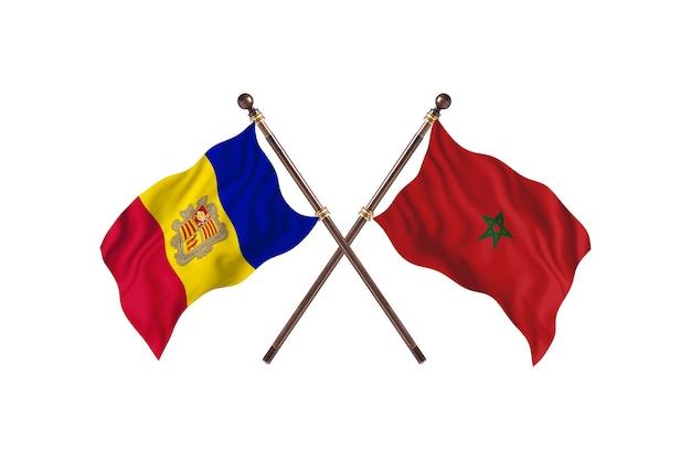 Andorre contre maroc deux pays drapeaux fond