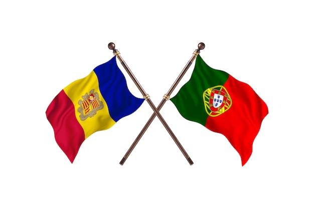 Andorre contre portugal deux pays drapeaux fond