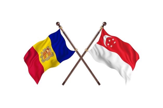 Andorre contre singapour deux pays drapeaux fond