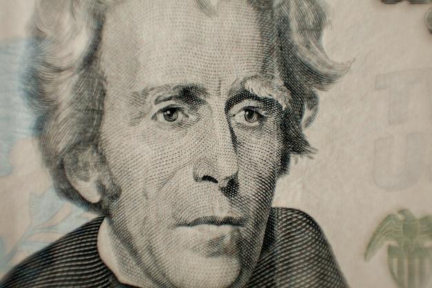 Andrew jacksons représenté sur le billet d'un dollar
