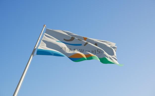Angle bas du drapeau de jeju corée. illustration 3d