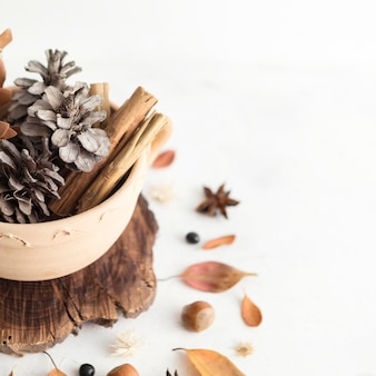 Angle élevé de bol avec des pommes de pin et des feuilles d'automne
