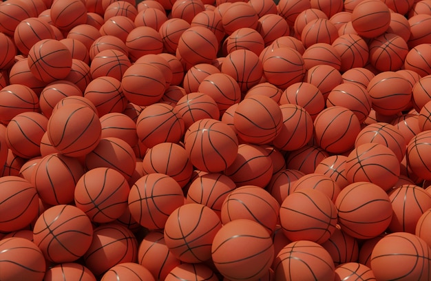 Angle élevé de composition avec des ballons de basket
