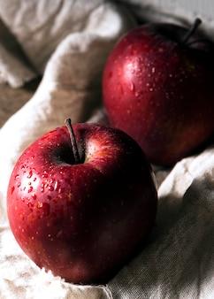 Angle élevé de deux pommes d'automne sur tissu