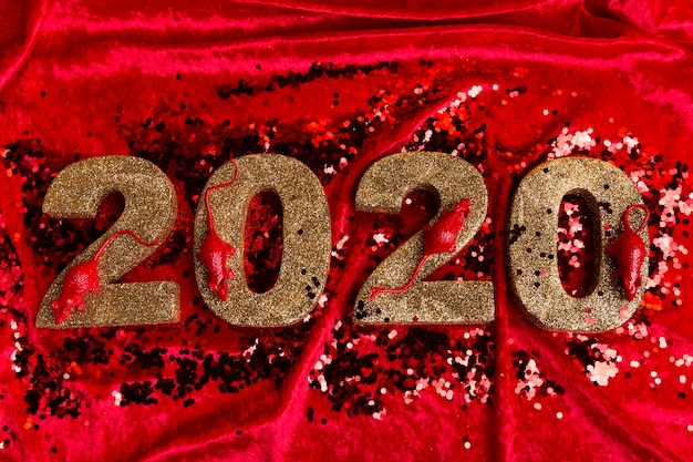 Angle élevé du numéro du nouvel an chinois sur du velours