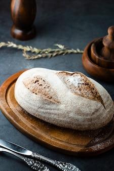 Angle élevé d'un pain sur un hachoir